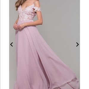 Long Cold-Shoulder Prom Dress w Embroidered Bodice